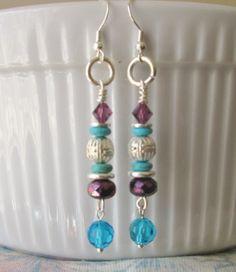 Beads And Wire, Silver Beads, Beaded Earrings, Drop Earrings, Homemade Jewelry, How To Make Earrings, Fashion Earrings, Metal Working, Dangles