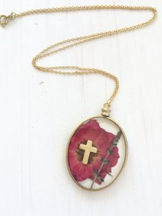 Real Pressed Red Rose Flower with Cross by flowersfadejewelry