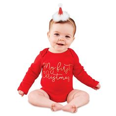 Baby Boy Girl My First Christmas Red Romper Bodysuit Outfit Playsuit baby girl clothes bodysuit. Click visit to buy #BabyGirlClothingSet #BabyGirl #ClothingSet