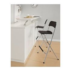 Franklin Bar Stool With Backrest, Foldable, Brown-black, Silver Color