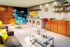 Self Service Laundry, Coin Laundry, Wash N Dry, Washing Machine, Deco, Home Appliances, Student, Arquitetura, Interiors