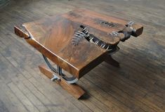Stitched Coffee Table by mattjohnsondesigns on Etsy Rustic Industrial Furniture, Vintage Industrial Decor, Metal Furniture, Cool Furniture, Industrial Decorating, Punk Decor, Walnut Slab, Cool Tables, Diy Wood Projects