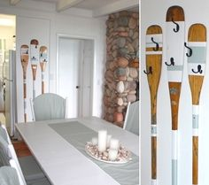 These creative oar wall rack ideas put oars to good use -to hold coats, towels, even picture frames! Three Painted Oars with hooks that make for a whimsical beach rack by the door. By interior decorat Oar Decor, Coastal Decor, Coastal Nursery, Coastal Style, Interior Design Advice, Interior Design Inspiration, Design Ideas, Design Your Home, House Design