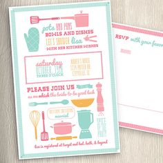 kitchen cooking theme bridal wedding shower invitation with rsvp recipe card printable diy on etsy