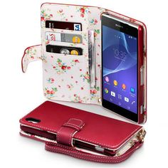 Red Flower Interior PU Leather Wallet Case Cover for Sony Xperia Z2 - So practical