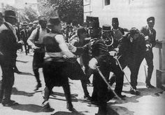 This picture is still widely identified as showing Gavrilo Princip's arrest but is of Ferdinand Behr