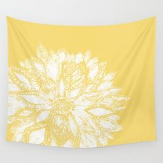 Yellow Flower Wall Tapestry, yellow wall tapestry, floral wall tapestry, dorm room decor, mustard tapestry, yellow white tapestry