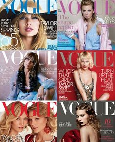 Taylor Swift on Vogue magazine covers throughout the years