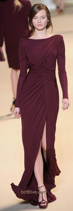 Long-sleeved burgundy evening dress with slit (Fall/Winter 2011 Ready-to-Wear Collection by Elie Saab)