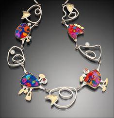 "Prismacolor ""flight"" necklace - WENDY NEWMAN.   (sterling, 18k, prismacolor, resin, pearl)"