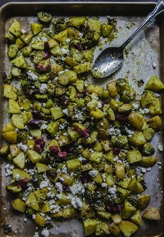 Crispy Roasted Potatoes & Brussels Sprouts With Cilantro Sauce, Goat Cheese & Olives by @SoLetsHangOut #glutenfree #primal #vegetarian #veggies #potatoes #cilantro #brusselssprouts #healthy #sidedish