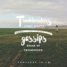 El que es malvado y chismoso provoca peleas y causa divisiones. Proverbios 16:28 TLA http://bible.com/176/pro.16.28.TLA