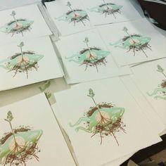 Circle of Life  #screenprint #spiritualart #natureart #circleoflife #frogs #deadfrog #dirtandworms #seedling #flowerart #growingplant #plantart #simplicity #zenart #meditation #prints #printmaking by raegrand.art
