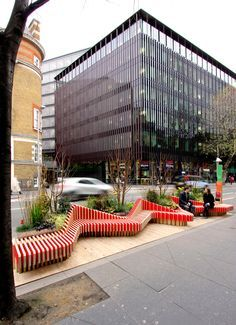 Parklet by WMB Studio adds greenery to London's streets Landscape Elements, Contemporary Landscape, Urban Landscape, Landscape Architecture, Landscape Design, Architecture Design, Architecture Diagrams, Architecture Portfolio, Urban Furniture
