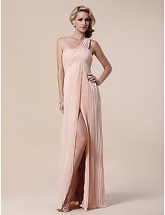 Would be pertty for bridsmaids Sheath/Column One Shoulder Floor-length Chiffon Stretch Satin Evening Dress - CAD $ 94.44