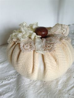 Elegant winter white wool fabric pumpkin decor by jtjujubees on Etsy https://www.etsy.com/listing/207784649/elegant-winter-white-wool-fabric-pumpkin