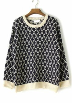 Blue Long Sleeve Diaper Houndstooth Sweater US$41.94