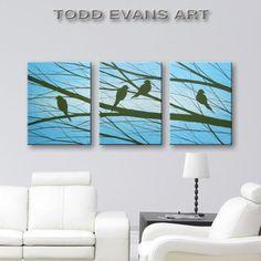 Love Birds Paintings Modern Art Tree and Bird Silhouette Canvas Art Wall Decor Wall Art Home Decor Blue Paintings Black Silhouette 48x20 ORIGINAL PAINTING