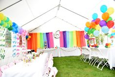 Rainbow Heart Kids Party Ideas - love the colorful balloons and heart garlands
