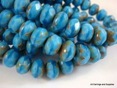 French Blue Czech Glass Faceted Picasso Abacus Rondelle Beads 8mm - 10 pcs. - G6041-FBP10 by Allearringsandsupplies for $2.95