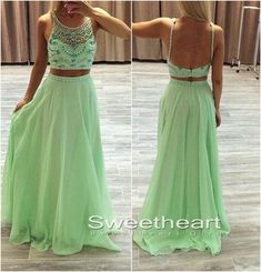 Green A-line 2 Pieces Sequin Long Prom Dresses, Green Evening Dresses #prom #promdress #coniefox #2016prom