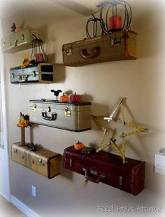 "Suitcase shelves -Here are the things I needed for this project:  Vintage suitcases  1×10 wood  Painter's tape and scrap paper (for templates)  2 1/2"" screws (big ones)  3/4"" screws (little ones)  Level  Jigsaw  Table Saw  Electric drill with a screwdriver bit  The hardest part—emotionally, that is—is that in order to get this look, you DO have to cut innocent luggage in half. ."