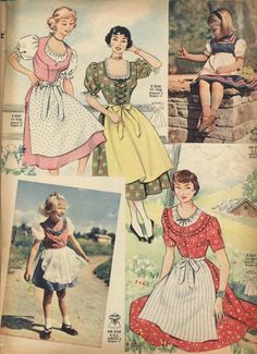 Absolutely lovely mid-century dirndl styles for girls and ladies