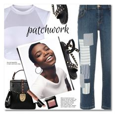 """""""All Patched Up: Patchwork"""" by fshionme ❤ liked on Polyvore featuring Emporio Armani, Bobbi Brown Cosmetics, NYX, patchwork and staycation"""
