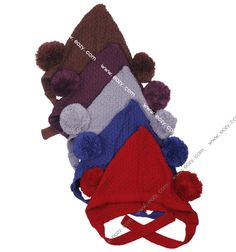 Baby Kids Boy Girl Warm Dual Ball Caps Crochet Knit Soft Beanie Wrap Hat
