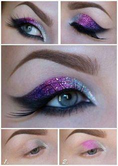 Maquillaje de ojos con brillos. Ideal para escenario.