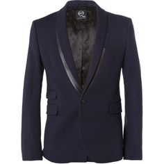 McQ Alexander McQueen Slim-Fit Faux Leather-Trimmed Textured... ($330) ❤ liked on Polyvore featuring men's fashion, men's clothing, men's sportcoats, blue and slim fit mens clothing