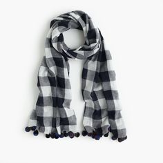 J.Crew Buffalo Plaid Pom-Pom Scarf ($80) ❤ liked on Polyvore featuring accessories, scarves, j crew scarves, tartan scarves, tartan plaid scarves, plaid scarves and plaid shawl