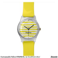 Customisable Yellow STRIPES Brushstroke
