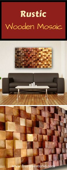 Rustic wooden mosaic: This rustic wooden mosaic is made of pine squares of different thickness. They are cut, sanded and painted in wood dyes and finished with organic oils. This way of painting enhance the beauty of tree rings and protect the wood very well. Although the wood is dyed it looks natural. #mosaic #wallart #walldecor #walldesigns #homedecor Decorating Your Home, Diy Home Decor, Organic Oils, Diy Cutting Board, Tree Rings, Wood Windows, Tree Wall Art, Rustic Wall Decor, Wooden Wall Art