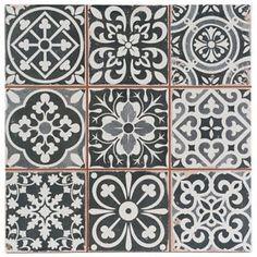 Victorian Marrakesh Black Decor Wall & Floor Tile 33x33cm (Per Tile)