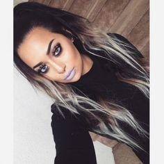 Dark to platinum hair ombre