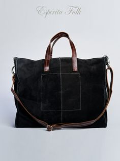 TOTE BAG $130.- leather suede in black, collection available at espiritufolkstore.com