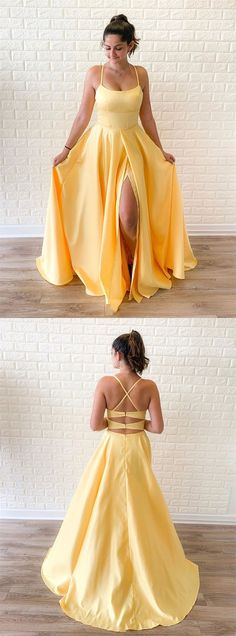 Boho Prom Dresses, Simple yellow satin long prom dress, yellow evening dress,/ friday dresses in new fashion · Friday Dresses · Online Store Powered by Storenvy Simple Dress Casual, Simple Prom Dress, Classy Dress, Simple Dresses, Cheap Dresses, Dresses Elegant, Cute Prom Dresses, Grad Dresses, Pretty Dresses