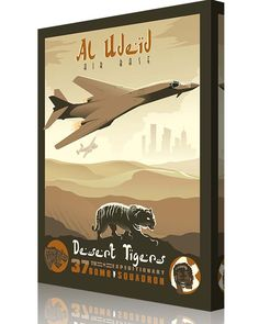 "Share Squadron Posters for a 10% off coupon! Al Udeid – 37th Expeditionary Bomb Squadron ""Tigers"" B-1 #http://www.pinterest.com/squadronposters/"