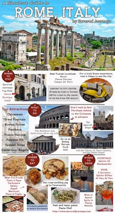 Shortcut Travel Guide to Rome Italy [Infographic] Taking a trip to Rome? Heres a quick guide to all the best things to do see eat drink plus where to stay The post Shortcut Travel Guide to Rome Italy [Infographic] appeared first on Getränk. Italy Travel Tips, Rome Travel, Greece Travel, Travel Trip, Paris Travel Tips, Travel Deals, Travel Europe, Travel Hacks, Travel Packing