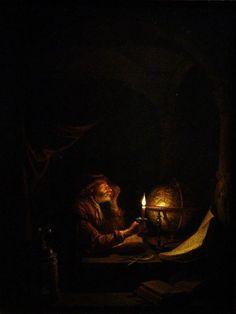 Gerrit Dou - Astronomo al lume di candela, 1650 ca. - Olio su tavola - Liechtenstein Museum, Vienna