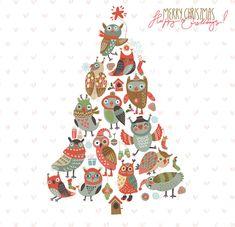 Merry Christmas Owls Vector Design