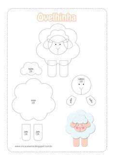 Sheep pattern for appliqué - felt Sheep Crafts, Felt Crafts, Felt Patterns, Applique Patterns, Sewing Crafts, Sewing Projects, Felt Templates, Quilting, Baby Mobile