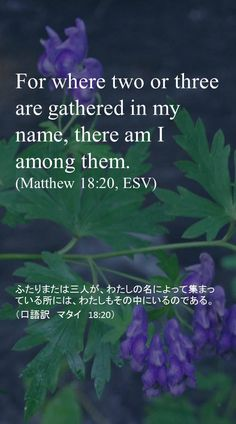 For where two or three are gathered in my name, there am I among them. (Matthew 18:20, ESV)ふたりまたは三人が、わたしの名によって集まっている所には、わたしもその中にいるのである。 (口語訳 マタイ 18:20)