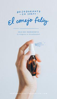 Receta facilísima para hacer desodorante en spray. Solo dos ingredientes, y ninguno es bicarbonato. Cero pruebas en animales, cero residuos, en cualquiercositaescarino.com