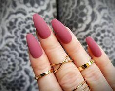 Items similar to Mauve press on nails - Matte finish - Any shape - Reusable manicure - Coffin Stiletto Almond Oval Round false nails on Etsy Matte Acrylic Nails, Mauve Nails, Almond Acrylic Nails, Almond Shape Nails, Summer Acrylic Nails, Acrylic Nail Designs, Nails Shape, Matte Nail Polish, Glitter Nails