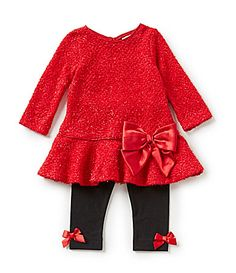 b21b717cb42 Rare Editions 3-24 Months Bow-Accented Sweater-Knit Dress   Legging  Christmas Set