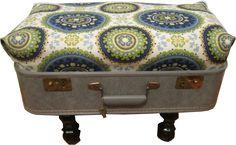Repurposed Vintage Suitcase Footstool - Door Knobs and Bloomsticks