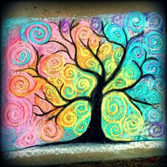 My sidewalk chalk art for the day. #sidewalkchalk #chalkart #chalkproject #art #tree #swirls #spirals #silhouette #colorful