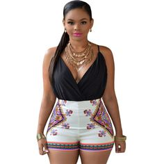 Hearty Adogirl Colorful Geometric Print Halter Backless Women Jumpsuits Women Sexy Summer Rompers Calf-length One Piece Pants Playsuits Jumpsuits